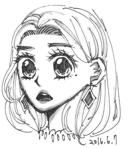 驚訝的戴耳環的女子