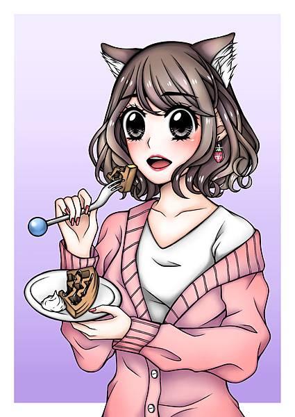 小貓娘吃鬆餅