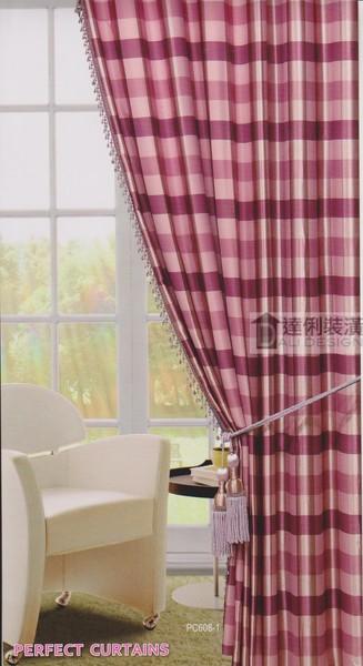 美式莊園風格-方格子圖案窗簾