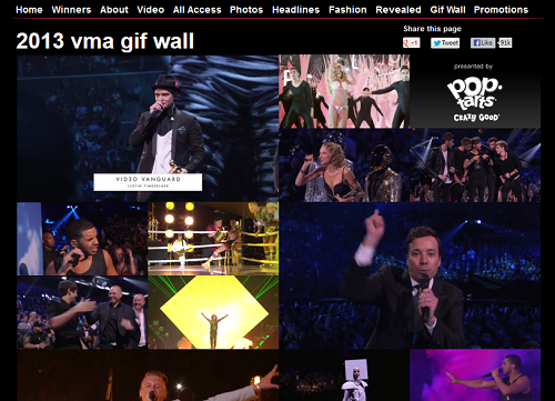MTV 音樂錄影帶大獎提供製作 GIF 檔,留下精彩每一刻