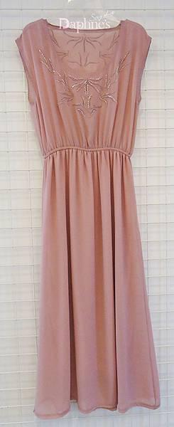 【黛芙妮性感小舖】純手工珠繡---雪紡薄紗連身裙 (有兩色-馬卡龍橘 & 藕紫 & 膚色)
