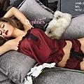 {AnneBra} 酒紅色。浪漫學院派蝴蝶荷葉邊兩件式睡衣