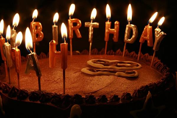 Birthday Cake - candles lit