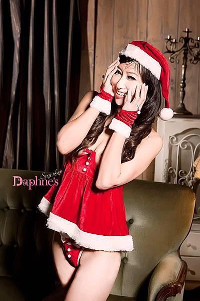 聖誕節必備。露乳性感小公主 角色扮演服 (含手套/帽子/上衣/丁字褲)