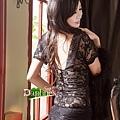 【黛芙妮性感小舖】黑色彈性蕾絲。浪漫抽皺。小蓋袖罩衫 (含蛋糕短褲)
