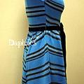 【黛芙妮性感小舖】{藍與黑} 經典配色-立裁繫帶無袖復古小洋裝