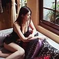 【黛芙妮性感小舖】【高雅露背】前開衫。蝴蝶結連身短襯裙 (附丁字褲)