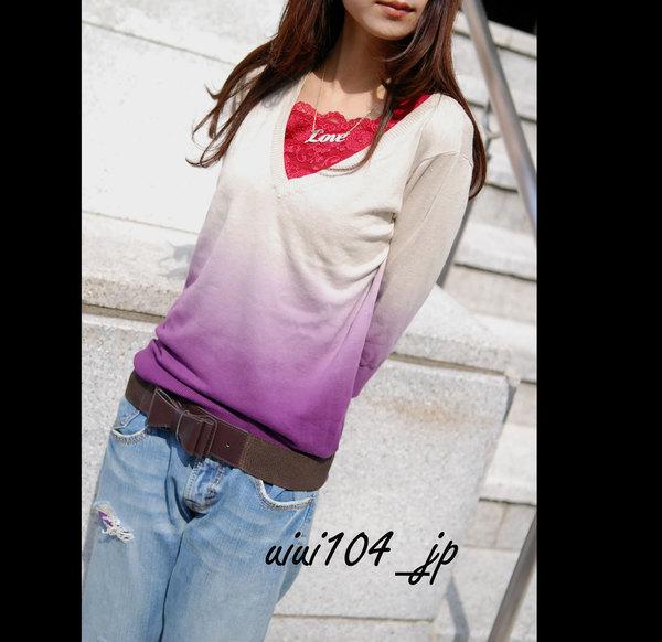 超美雙領口設計漸層渲染針織V領衫.jpg