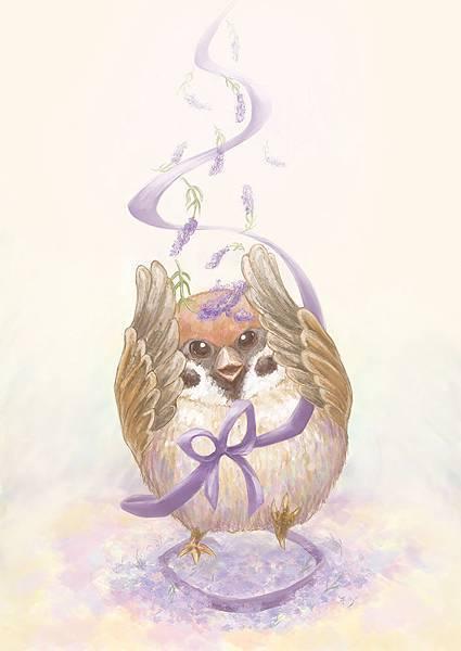 薰衣草園裡的小麻雀.jpg