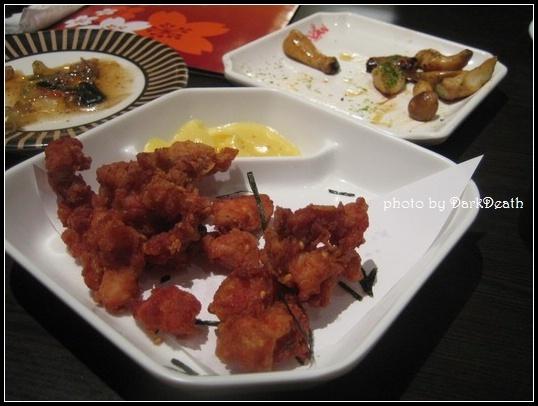 日式炸雞、烤杏鮑菇