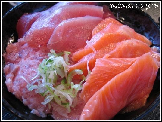 鮭魚鮪魚蔥鮪丼