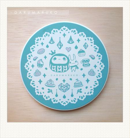 NO:CN01 陶瓷吸水杯墊-[藍色甜點餐紙款] 售價:150元/一片(限量20片)