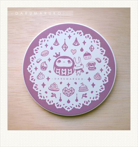 NO:CN03 陶瓷吸水杯墊-[紫色甜點餐紙款] 售價:150元/一片(限量10片)