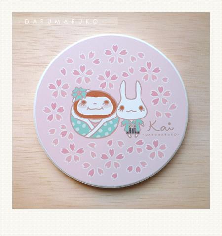 NO:CN05 陶瓷吸水杯墊-[櫻花和服款] 售價:150元/一片(限量10片)