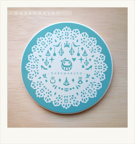 NO:CN07 陶瓷吸水杯墊-[藍色蕾絲餐紙款] 售價:150元/一片(限量20片)