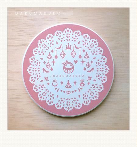 NO:CN08 陶瓷吸水杯墊-[粉蕾絲餐紙款] 售價:150元/一片(限量10片)
