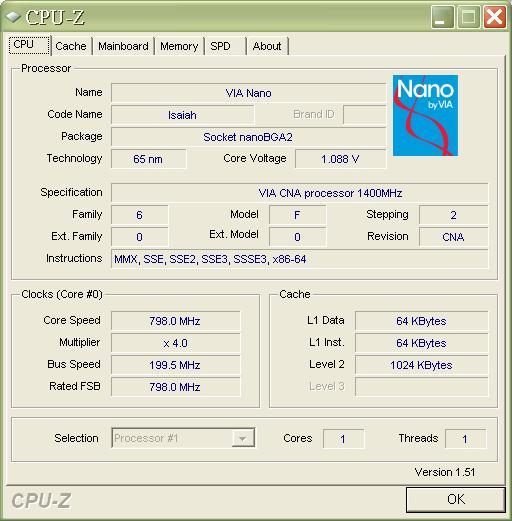 cpuz info of NANO