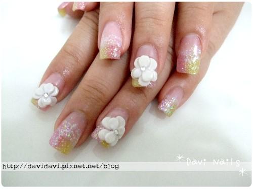 20100919。暈染水晶小白花