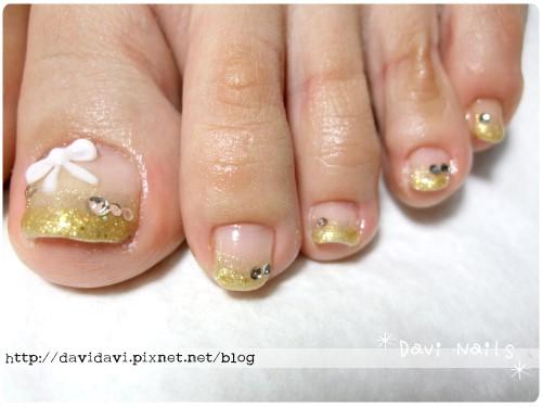 20110818。金色漸層法式加蝴蝶結
