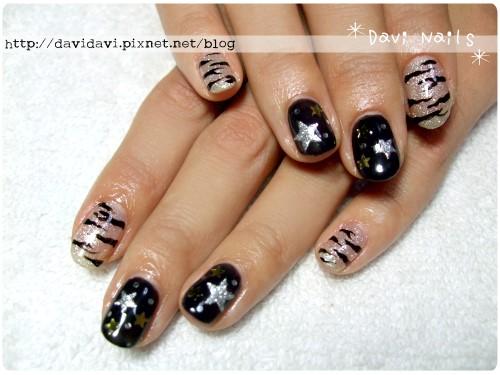 20111215。銀黑個性斑馬紋x星星