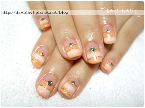 20120303。溫柔粉橘色條紋