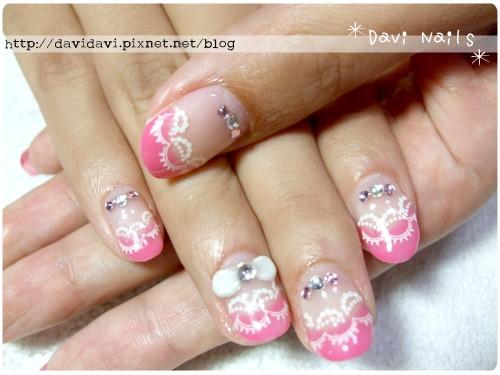 20120522。甜美粉紅蕾絲法式