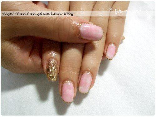 20101031。粉紅鑲金大理石