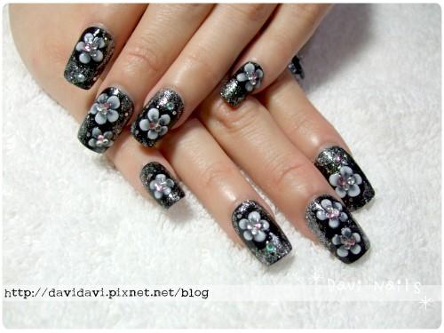 20110214。和風銀鑽黑白花