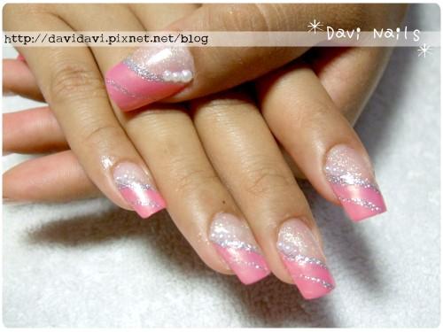 20110512。珍珠粉紅斜法式