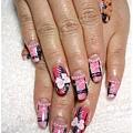 20101222。粉色格紋&愛心小熊