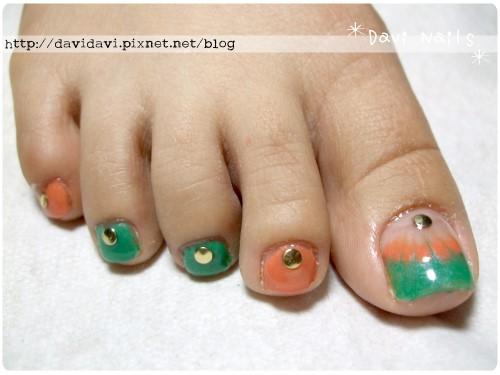 20110504。橘x綠法式孔雀紋