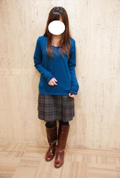 EARTH毛料蝴蝶結口袋格紋裙(紫紅)1.jpg
