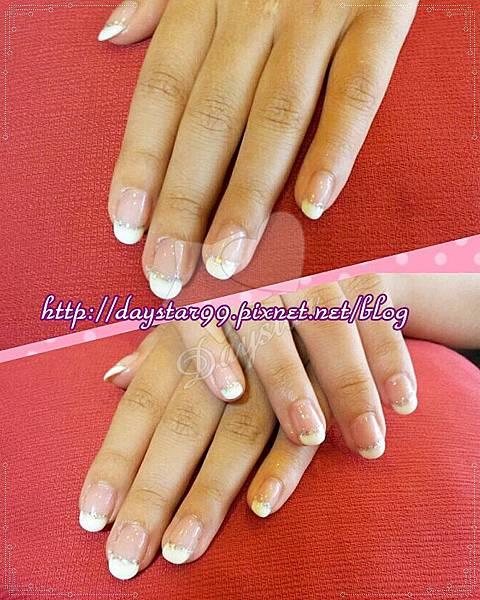 白色亮片法式《光療指甲》