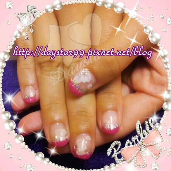 艷麗桃紅法式《光療指甲》