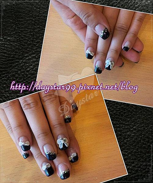 黑色斜邊法式《光療指甲》