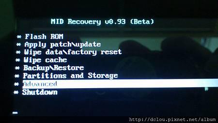 Recovery主畫面選Advance