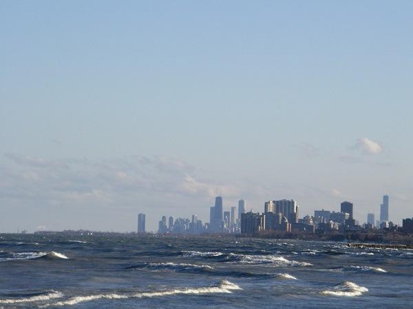 密西根湖畔向南看到芝加哥市區