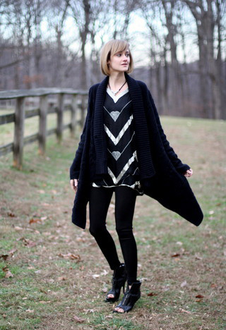 SWEATER, ANTHROPOLOGIE, in SWEATERS. NECKLACE, VINTAGE, in JEWELRY. SEQUIN TOP, VINTAGE, in SHIRTS (SHORT SLEEVE). LEGGINGS, COSTUME DEPT, in LEGWEAR. BOOTIES, GIVENCHY, in HEELS  WEDGES..jpg