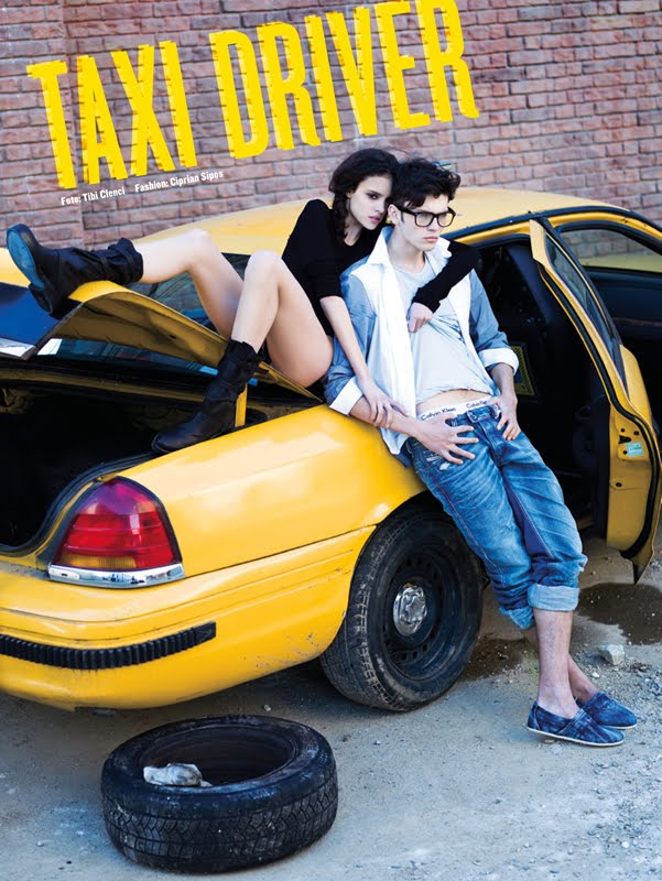 "Silviu Tolu and Diana Sar in FHM's ""Taxi Driver"" May 2010.  Ph Tibi Clenci"