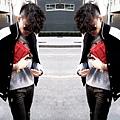 Coat & Sweater by Club Monaco, Red Clutch by DKNY, Leopard Prints Pouch by ZARA, Fendi Glasses & Guess Watch