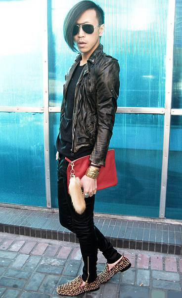 BALMAIN Jacket & Tee, PIERRE BALMAIN Leather Pants, JIL SANDER Clutch, Louboutin Shoes