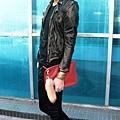 BALMAIN Jacket & Tee, PIERRE BALMAIN Leather Pants, JIL SANDER Clutch, Louboutin Shoes