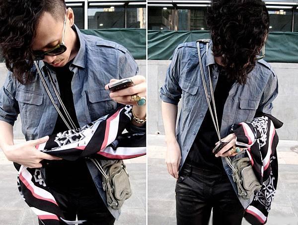 DKNY Shirt & Scarf, BALMAIN Tee & Pants, Alexander Wang Bag, FENDI Glasses.