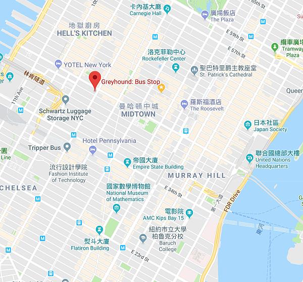 曼哈頓中城行李寄放處