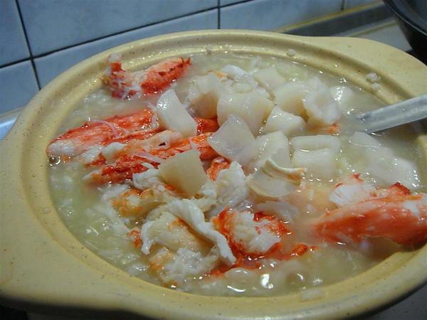 初二的晚餐,帝王蟹干貝高麗菜粥