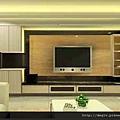 電視牆大理石+烤漆玻璃+系統家具