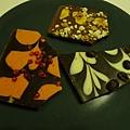 友人從科隆的巧克力工廠帶回來的巧克力,左至右分別是辣椒、薑、咖啡豆