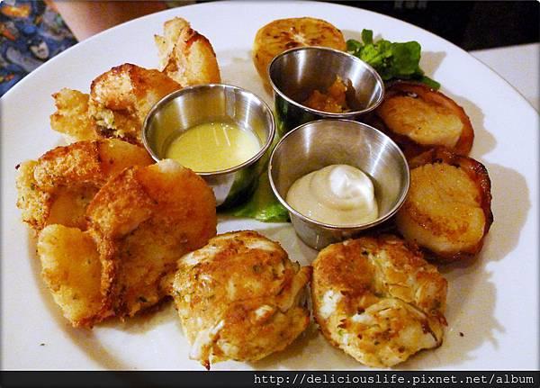 焗烤海鮮盤435-烤烟肉帶子.珍寶蟹餅.焗亞歷山特級大蝦