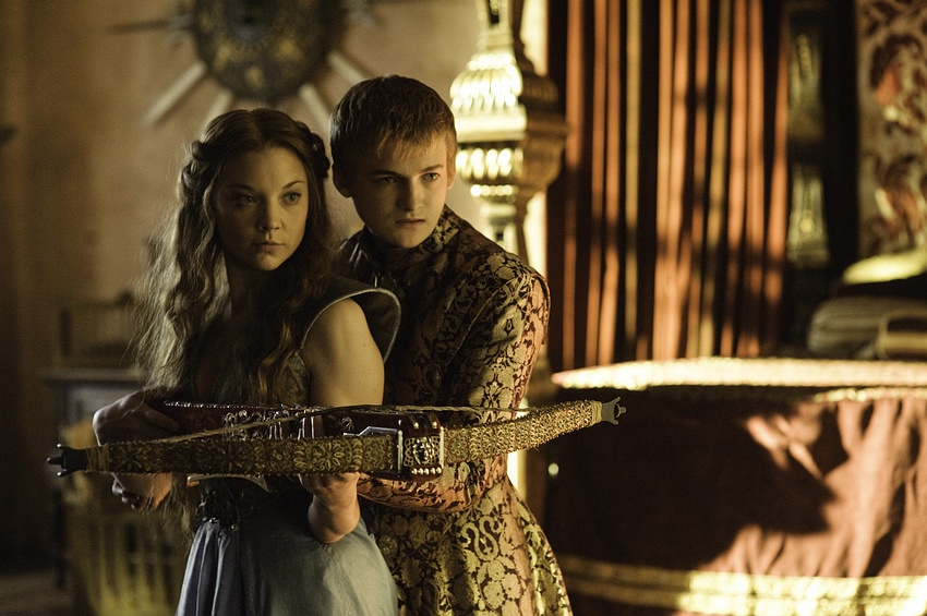 Natalie Dormer as Margaery Tyrell and Jack Gleeson as Joffrey Baratheon
