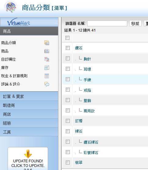 virtuemart商品選單下拉式選單